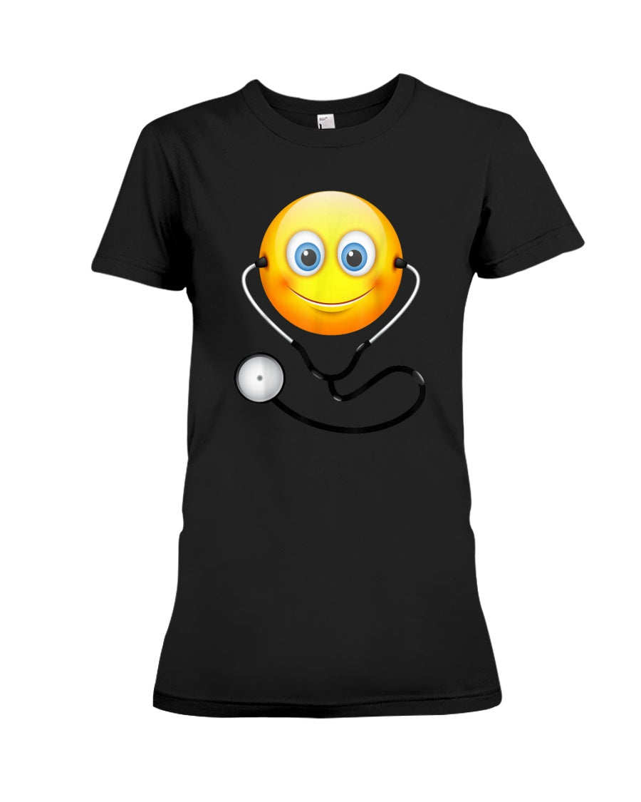 Cute Smiling Nurse Emoji Face Wearing Stethoscope Great Gift For Doctor's Day Ladies Tee