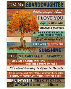 To My Granddaughter Never Forget That I Love You Gifts From Minnie Vertical Poster