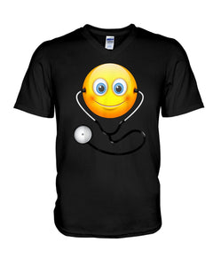 Cute Smiling Nurse Emoji Face Wearing Stethoscope Great Gift For Doctor's Day Guys V-Neck