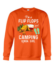 Load image into Gallery viewer, I'm A Flip Flops And Camping Kinda Girl For Camping Lovers Sweatshirt