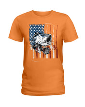 Load image into Gallery viewer, Fishing American Flag Vintage Special Unique Custom Design Ladies Tee