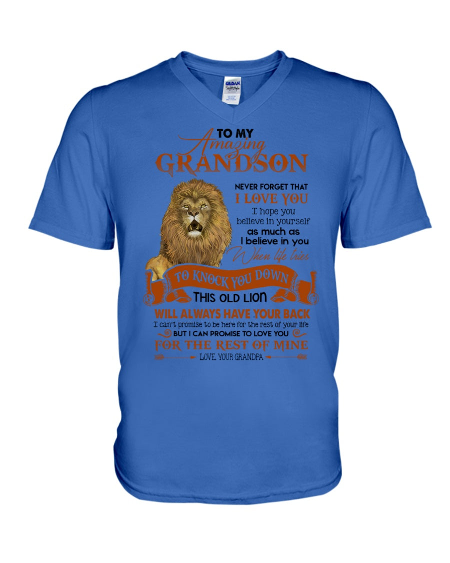 This Old Lion Will Always Have Your Back Lovely Message Gifts For Grandson Guys V-Neck