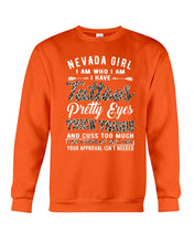 Load image into Gallery viewer, Nevada Girl I Am Who I Am - I Have Tattoos Pretty Eyes Custom Design Sweatshirt