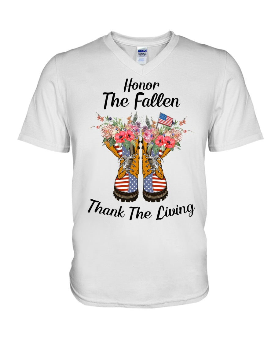 Honor The Fallen Thank The Living Gifts Guys V-Neck