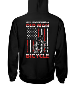 Never Underestimate An Old Man With A Bicycle American Flag Custom Design Hoodie