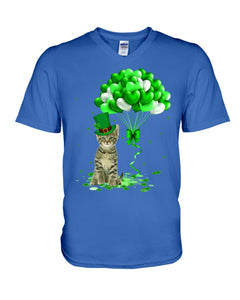 Love Balloons Happy St Patrick's Day For Cat Lovers Guys V-Neck