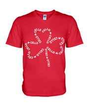 Load image into Gallery viewer, Cello With Four Leaf Clovers Great Gift For Cello Players Guys V-Neck
