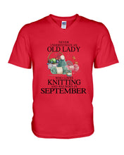 Load image into Gallery viewer, Never Underestimate A September Old Lady Who Loves Knitting Guys V-Neck