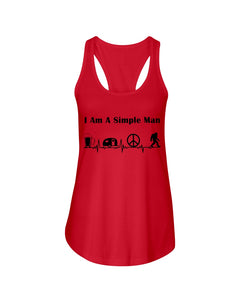 Simple Man Bigfoot Loving Camping Loving Peace Custom Design Ladies Flowy Tank