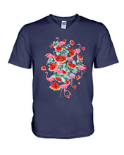 Load image into Gallery viewer, Flamingo Fruit Watermelon  Special Unique Custom Design Guys V-Neck