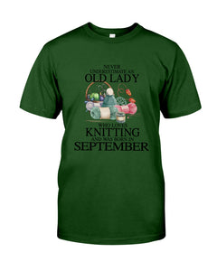 Never Underestimate A September Old Lady Who Loves Knitting Guys Tee