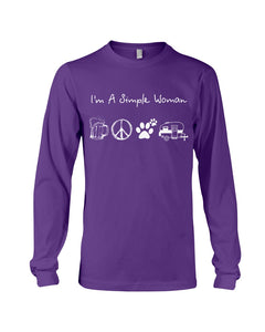I'm A Simple Woman Beer Hippie Dog Camp Gifts For Girls Unisex Long Sleeve