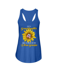 Just A Granddaughter Who Is Proud Of Her Vietnam Grandpa Gifts Ladies Flowy Tank