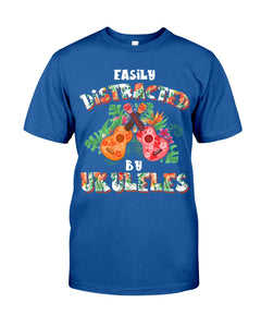 Easily Distracted By    Ukulele Trending For Music Instrument Lovers Guys Tee
