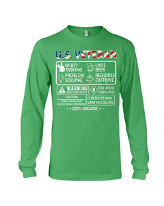 U.S Veteran Multi Tasking Likes Beer 100% Organic Gifts Unisex Long Sleeve