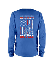 Load image into Gallery viewer, Never Underestimate An Old Man With A Bicycle American Flag Custom Design Unisex Long Sleeve