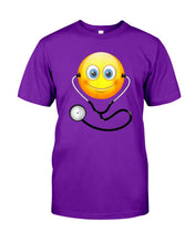 Load image into Gallery viewer, Cute Smiling Nurse Emoji Face Wearing Stethoscope Great Gift For Doctor's Day Guys Tee