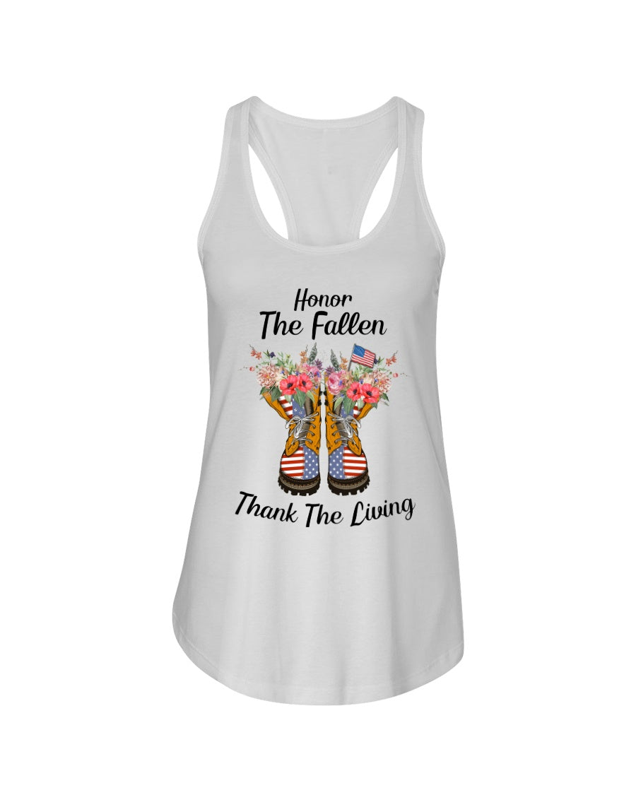 Honor The Fallen Thank The Living Gifts Ladies Flowy Tank