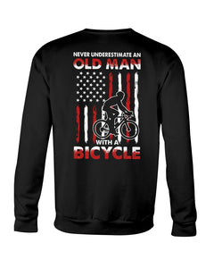 Never Underestimate An Old Man With A Bicycle American Flag Custom Design Sweatshirt