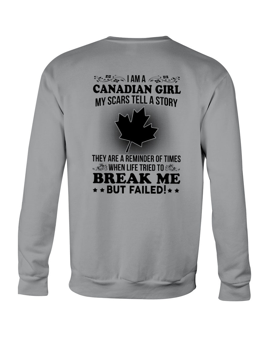 I'm A Canadian Girl My Scars Tell A Story Personalized Nation Gifts Sweatshirt