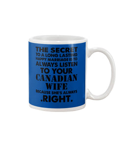 Always Listen To Your Canadian Wife Because She's Always Right Mug