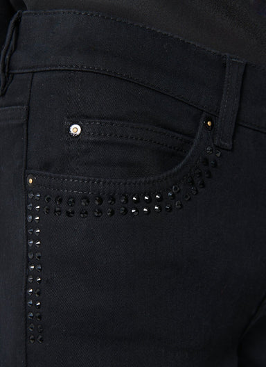 ESCADA Rhinestone Decoration Black Denim