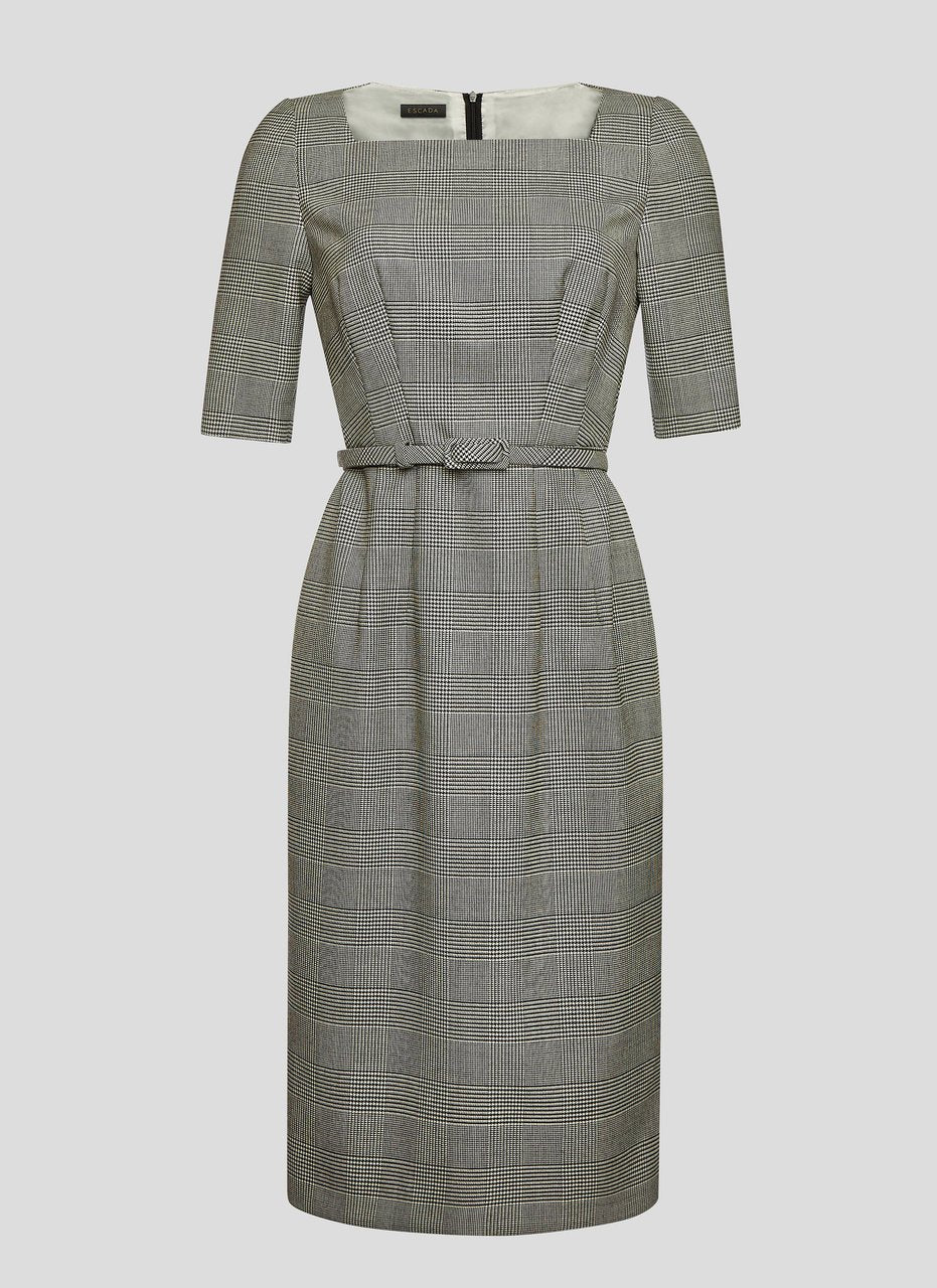Virgin Wool Check Dress - ESCADA