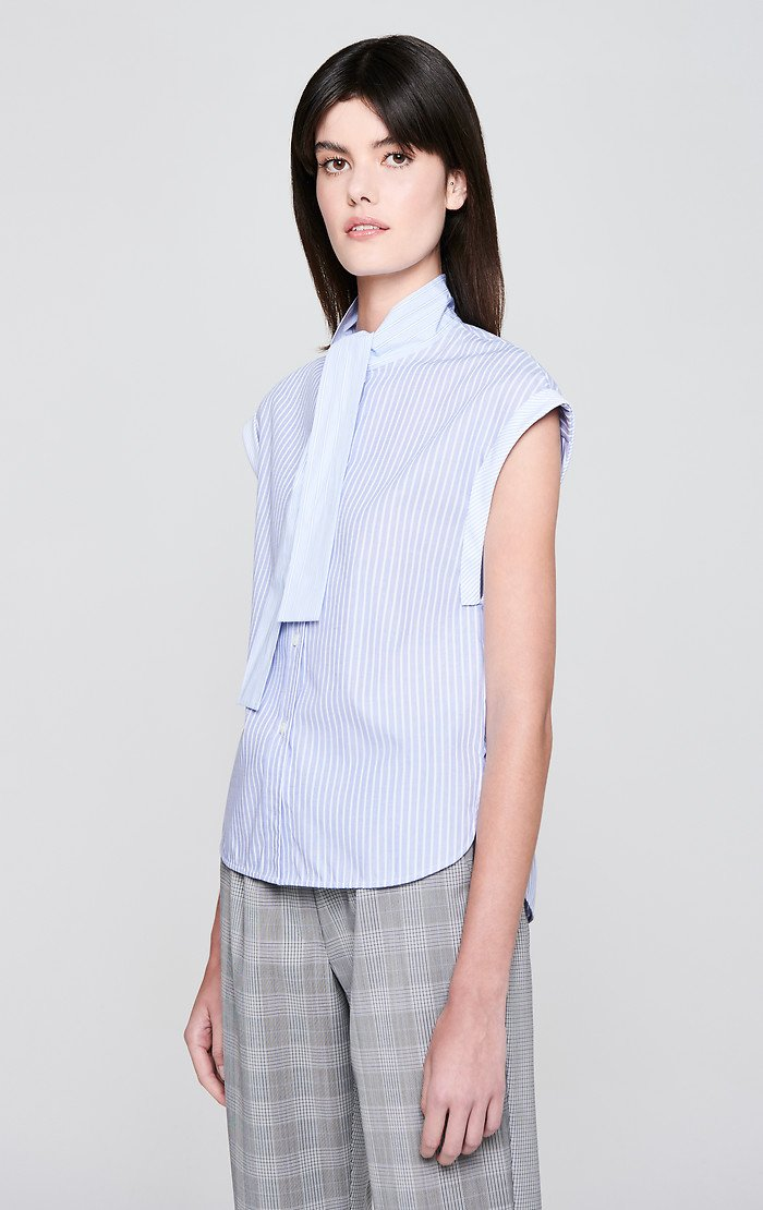 ESCADA Cotton Stripe Tie-Neck Shirt