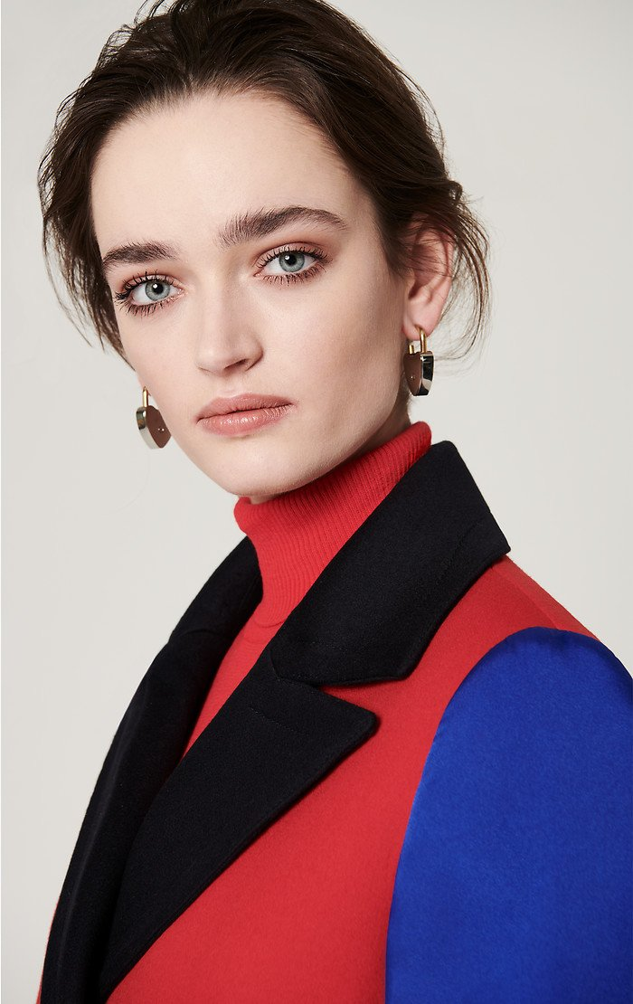 Wool Cashmere Color Block Coat - ESCADA