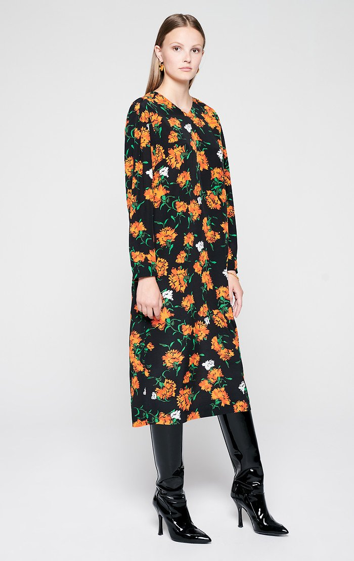 ESCADA Silk Printed Midi Dress