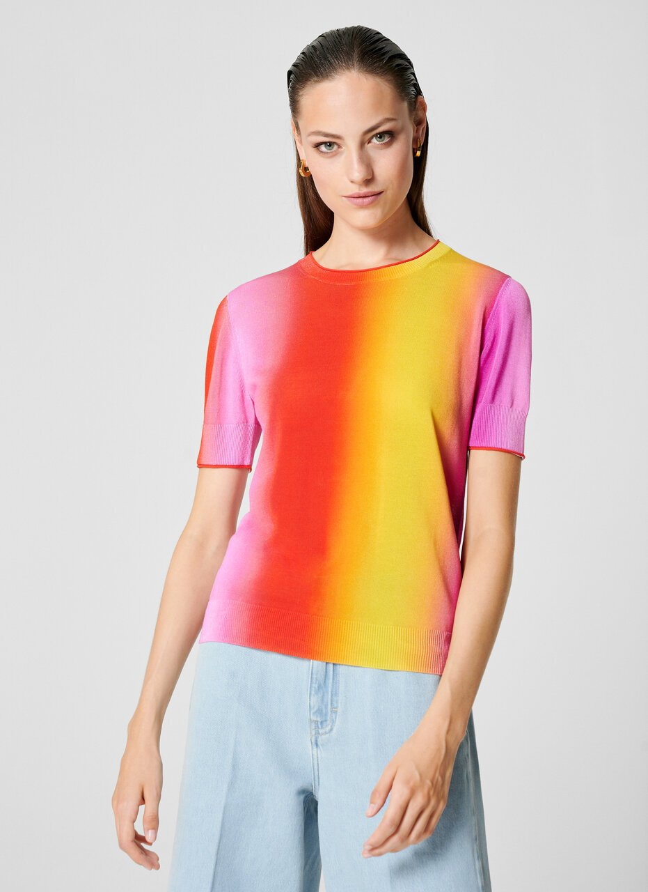 Multicolor Ombré Short-Sleeve Sweater - ESCADA ?id=16464466051204