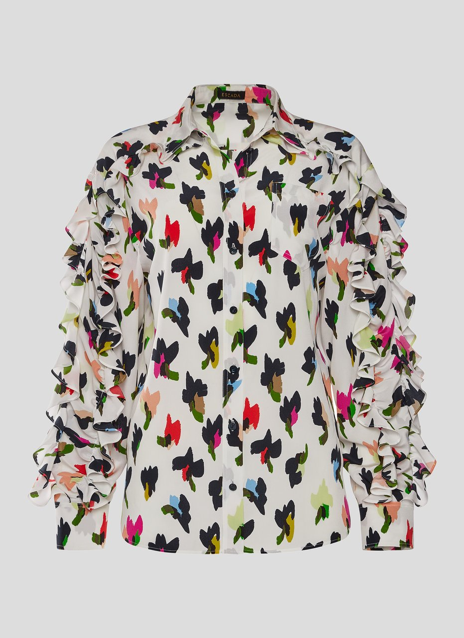 ESCADA Silk Printed Ruffle Sleeve Blouse