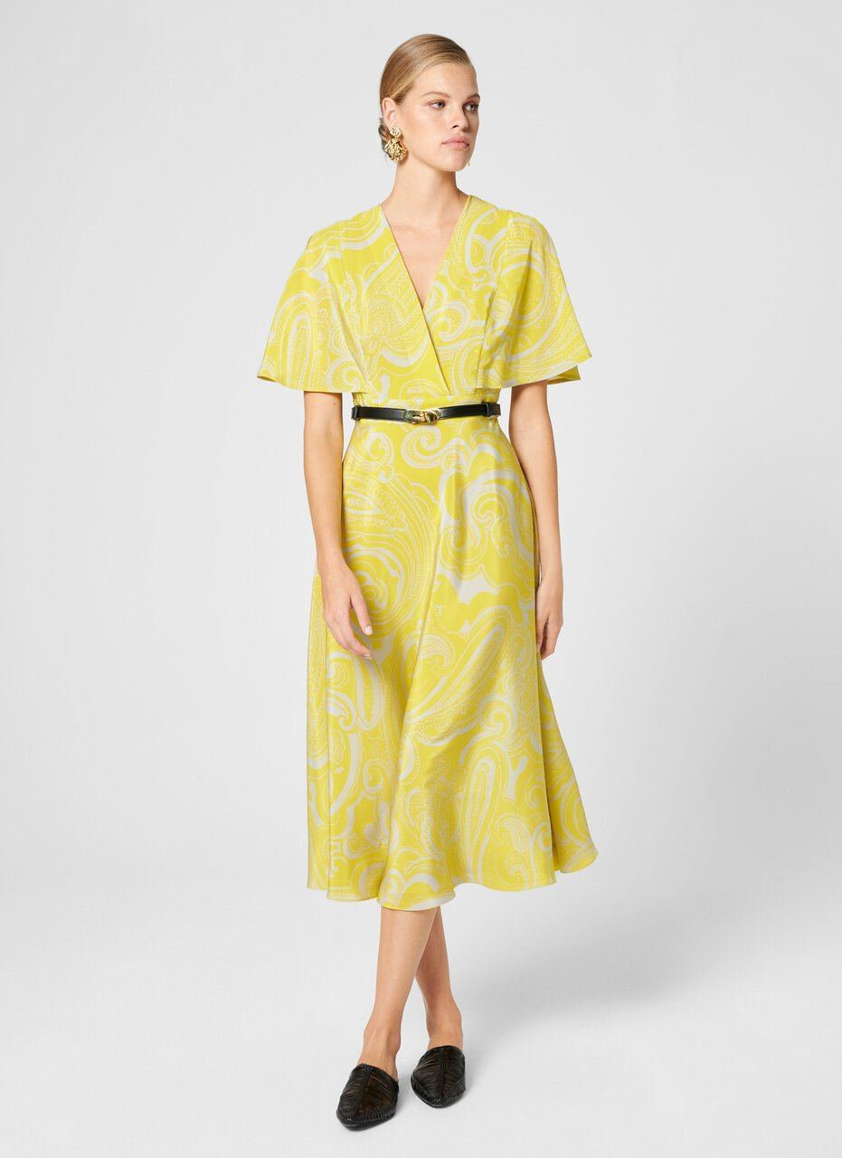 ESCADA Silk Paisley Print Cape Dress