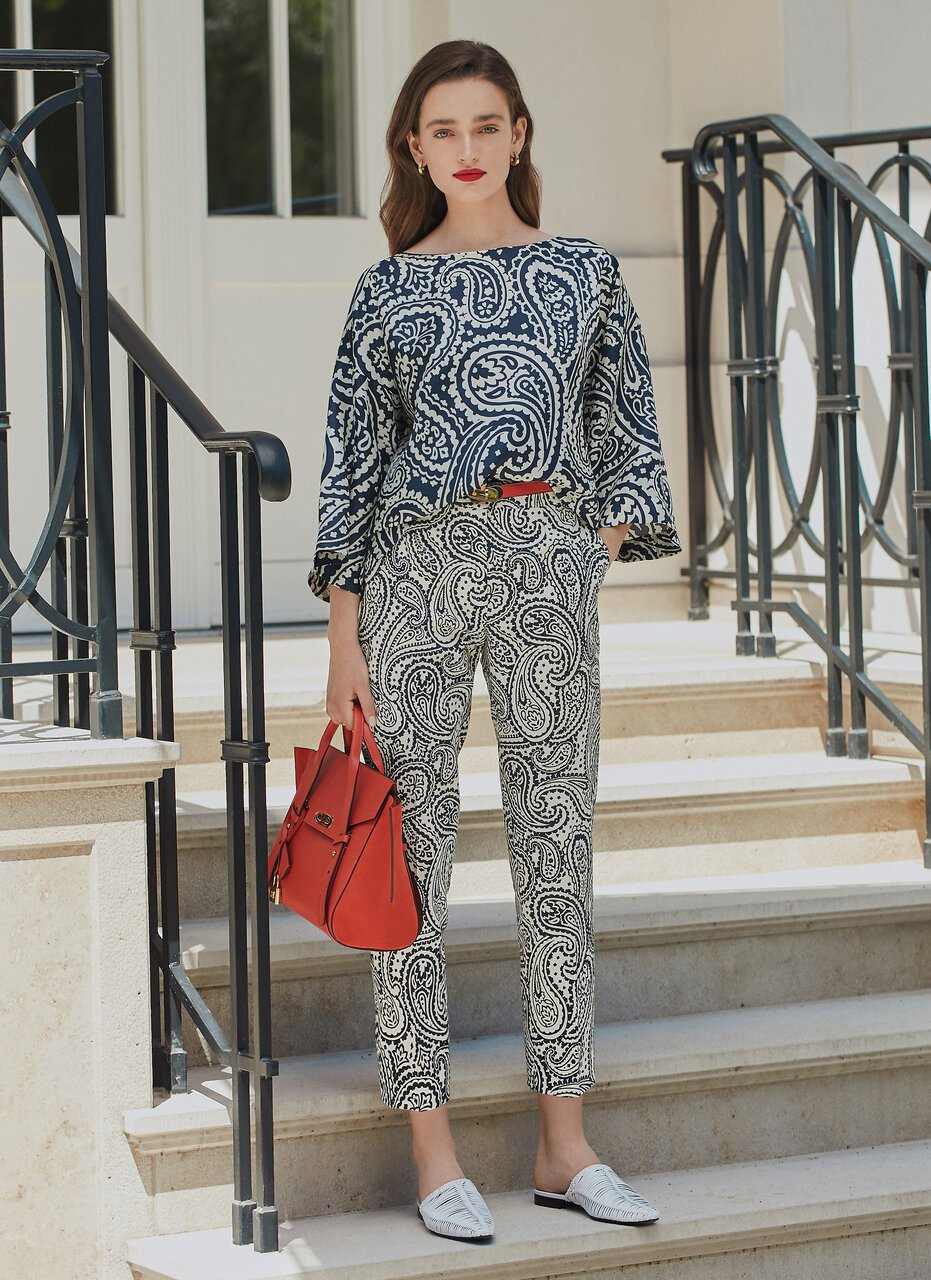 ESCADA Cotton Stretch Paisley Pants