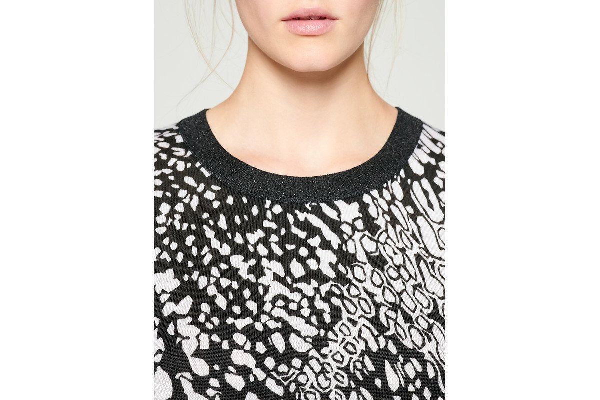 ESCADA Silk Trim Printed Sweater