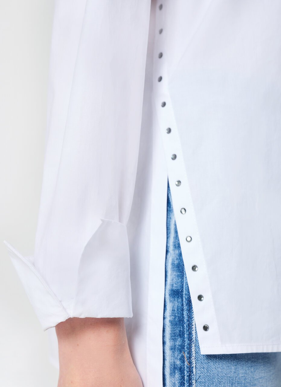 ESCADA Cotton Poplin Rhinestones Blouse
