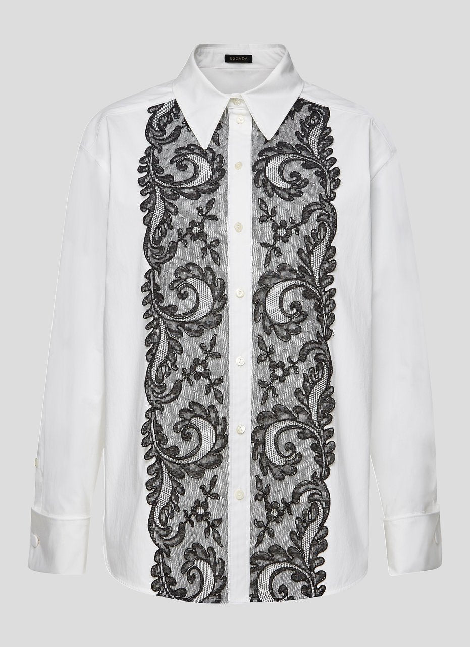 ESCADA Poplin and Lace Shirt