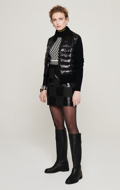 Leather Checkerboard Skirt