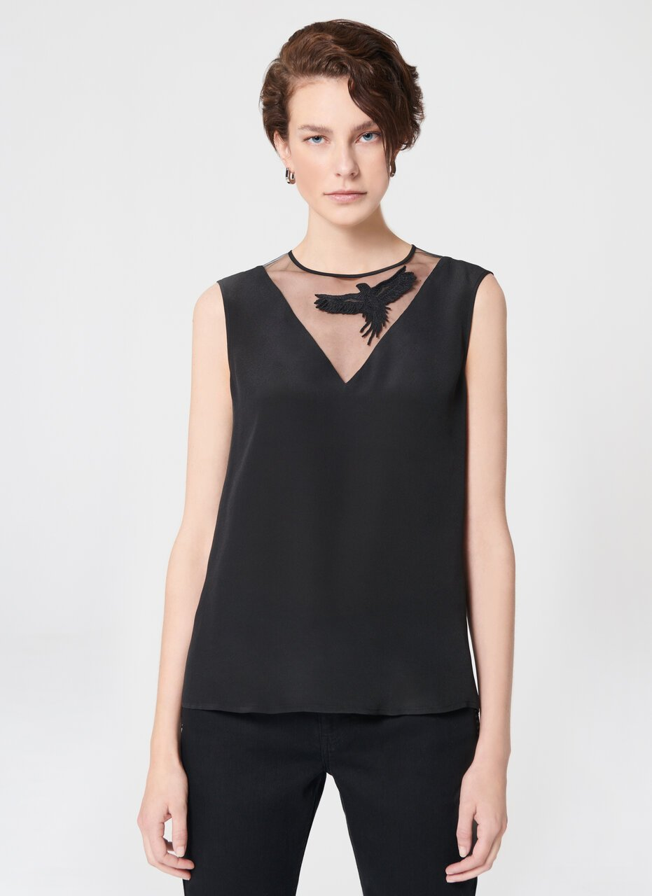ESCADA Viscose Silk Top With Tulle