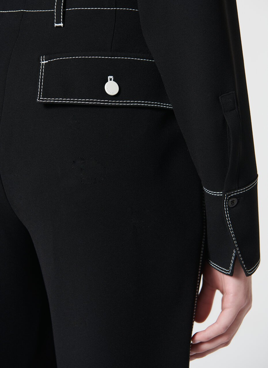 Fluid pant with contrasting stitching - ESCADA