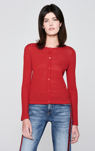 Ajour Stripe Cotton Cardigan - ESCADA ?id=16179951861892