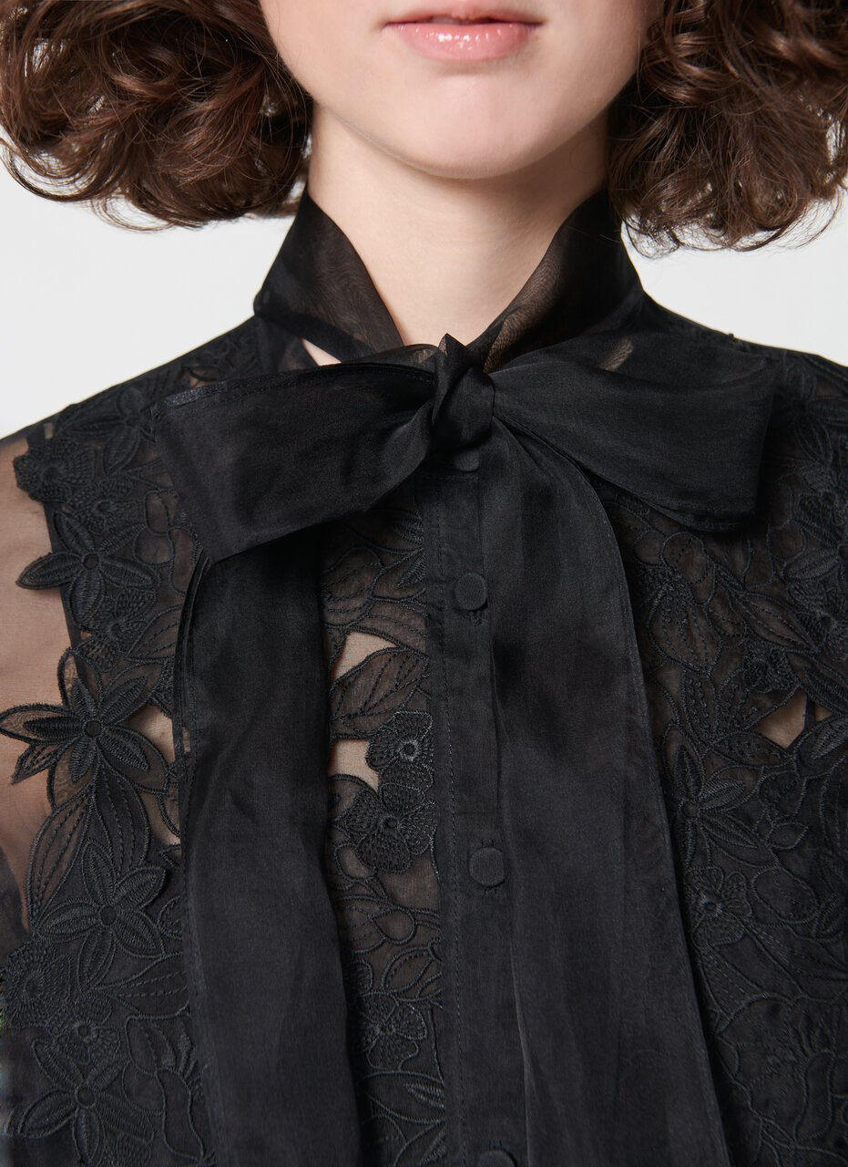 ESCADA Highlight silk organza lace blouse