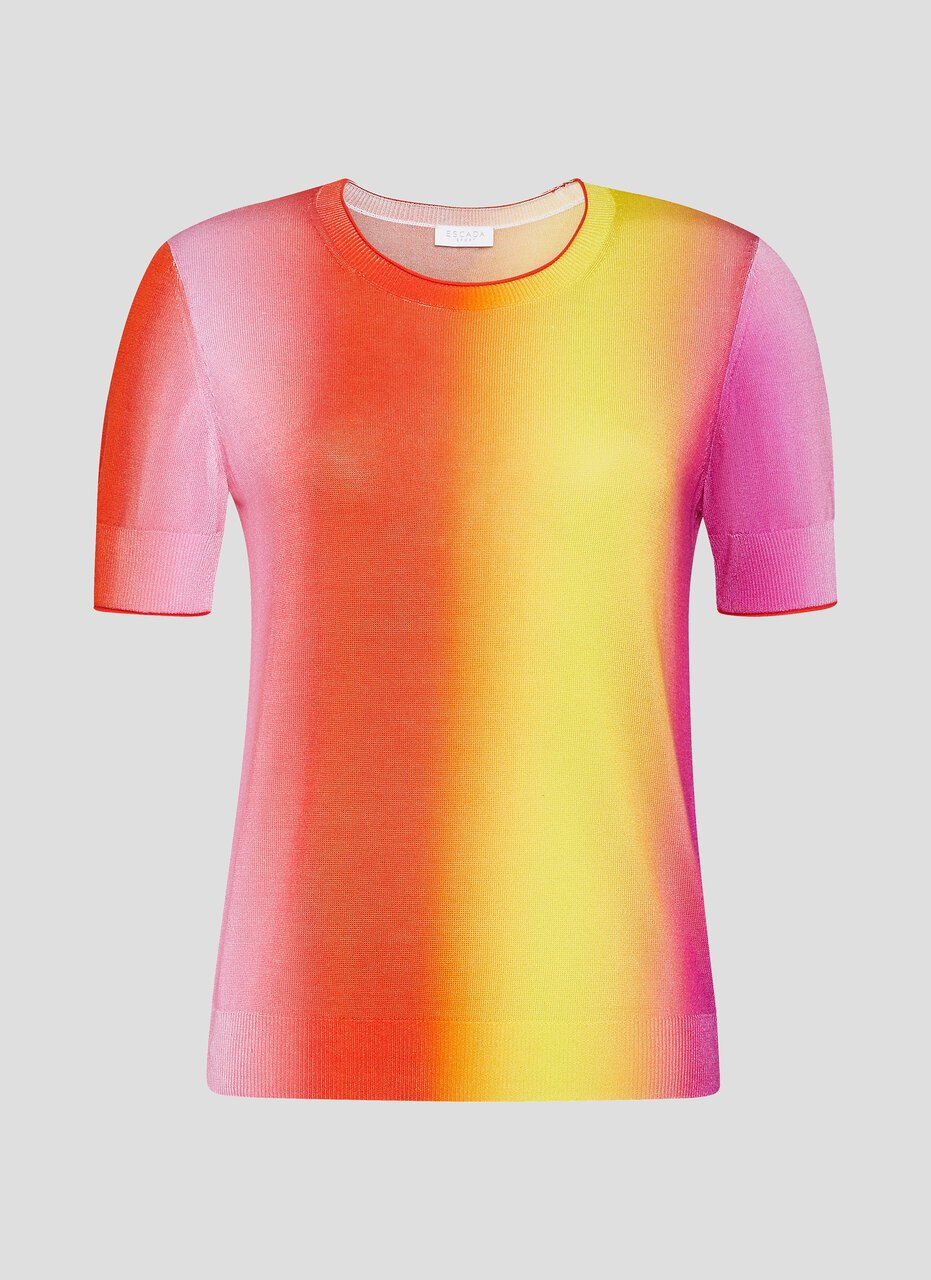 Multicolor Ombré Short-Sleeve Sweater - ESCADA ?id=16464466247812