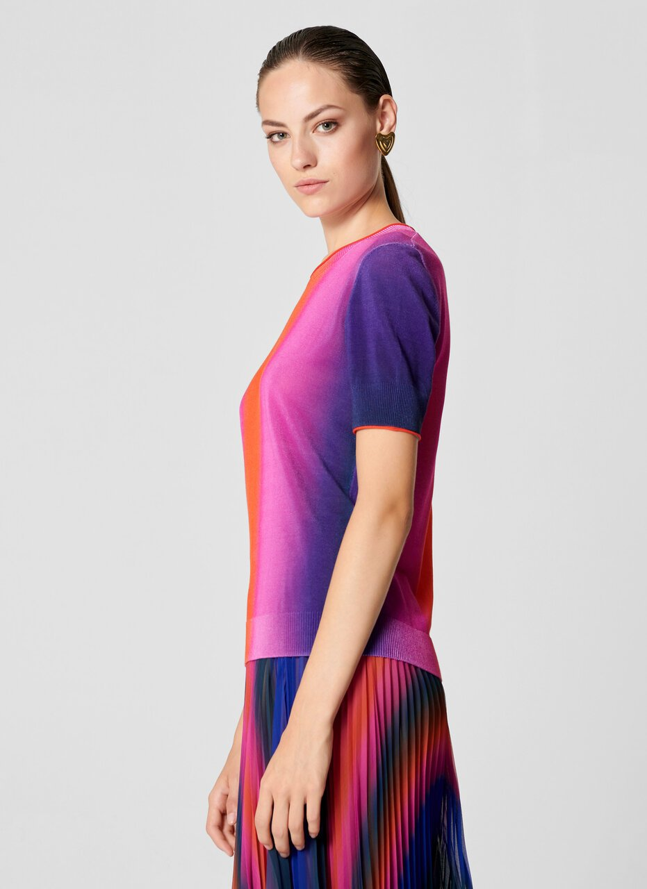 Multicolor Ombré Short-Sleeve Sweater - ESCADA ?id=16464465920132