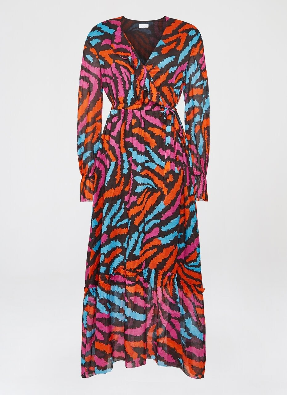 Zebra Print Ruffle Maxi Dress - ESCADA ?id=16464451502212