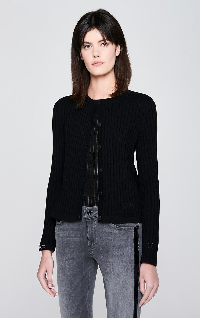 ESCADA Ajour Stripe Cotton Cardigan
