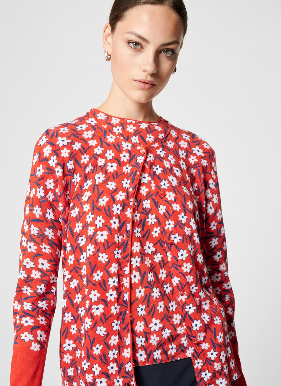 Cotton Blend Floral Cardigan - ESCADA ?id=16402035441796