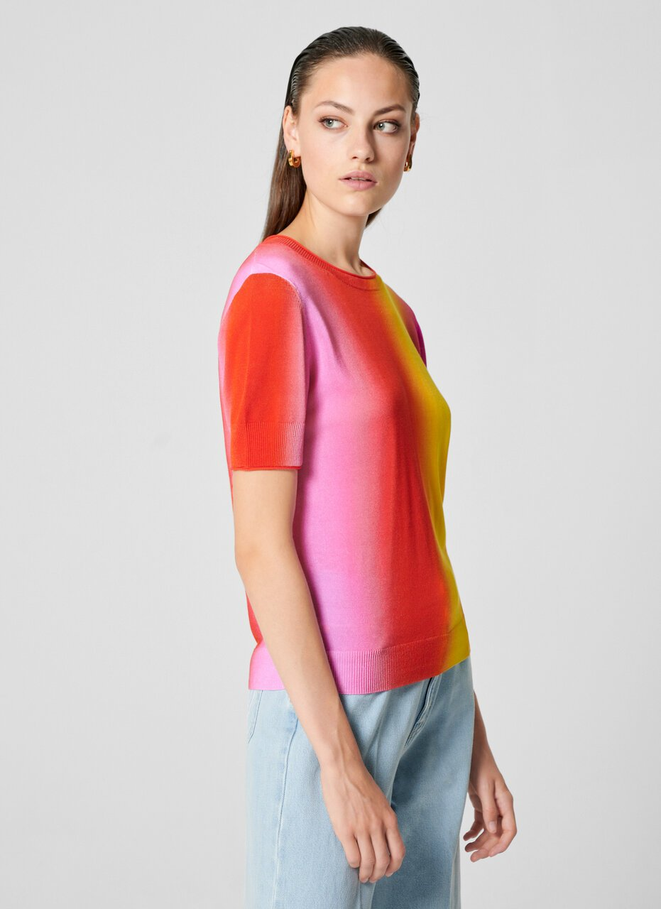 Multicolor Ombré Short-Sleeve Sweater - ESCADA ?id=16464466149508