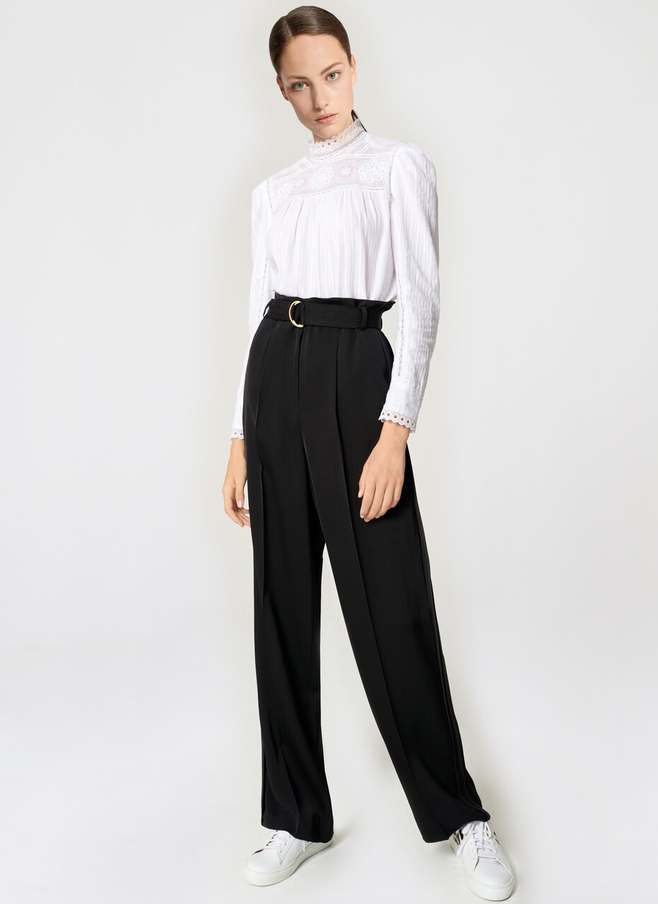 Crepe Belted Wide-Leg Pants - ESCADA ?id=16464465494148