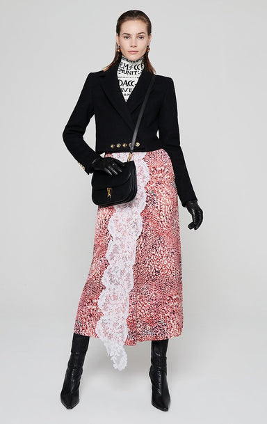 Residency Collection - Printed Satin and Lace Skirt